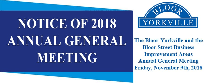 Bloor-Yorkville and Bloor Street BIAs AGM – November 9th – Save the Date!