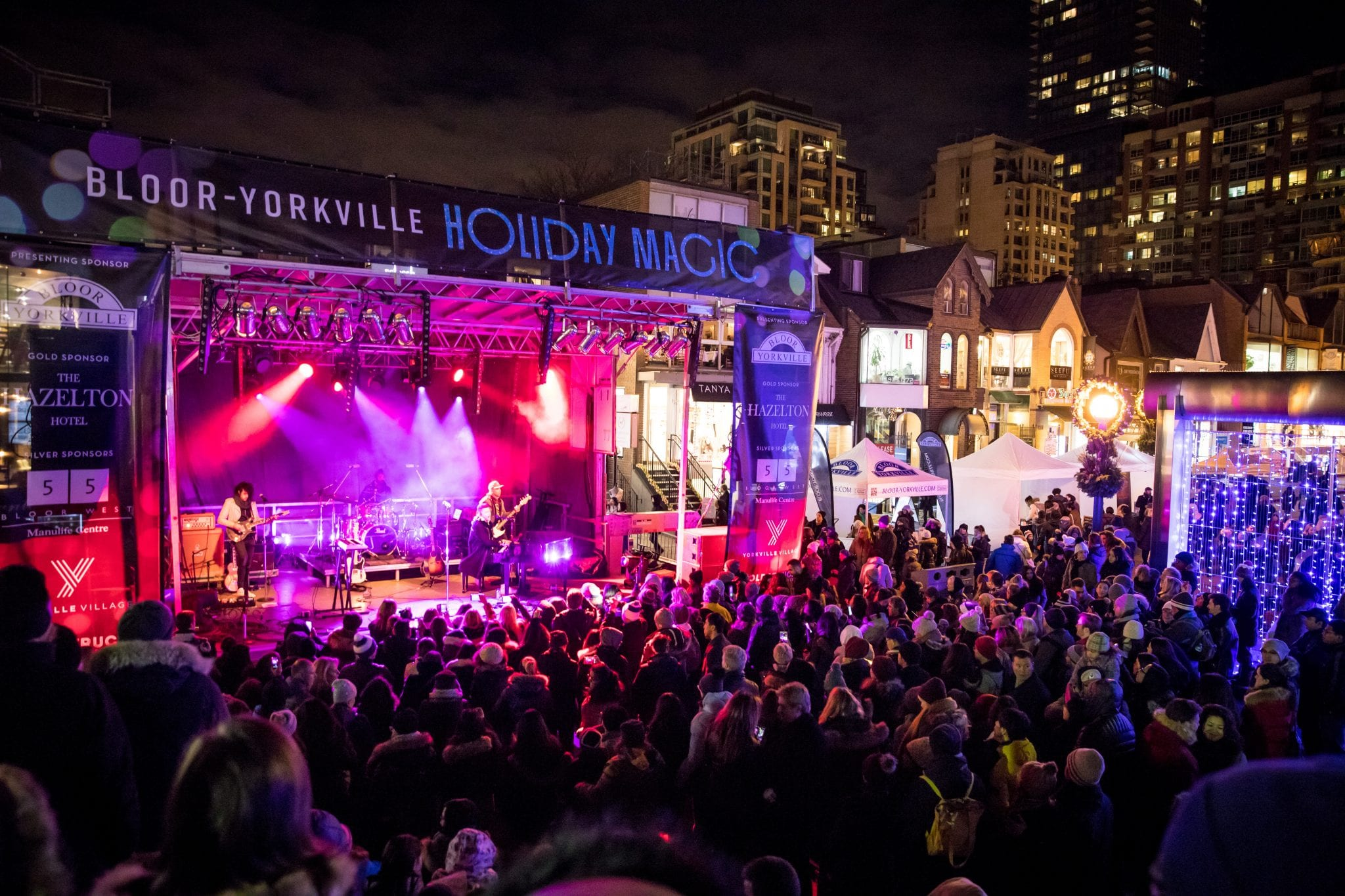 Guests at Holiday Magic 2018 Bloor-Yorkville watch Shawn Hook concert