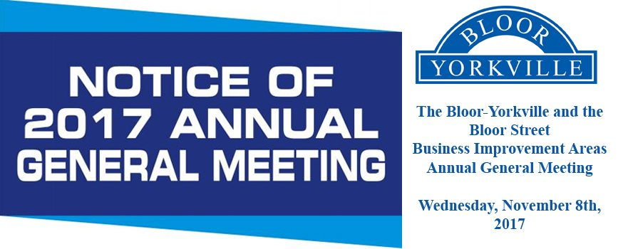 AGM Notice – The Bloor-Yorkville and the Bloor Street Business Improvement Areas