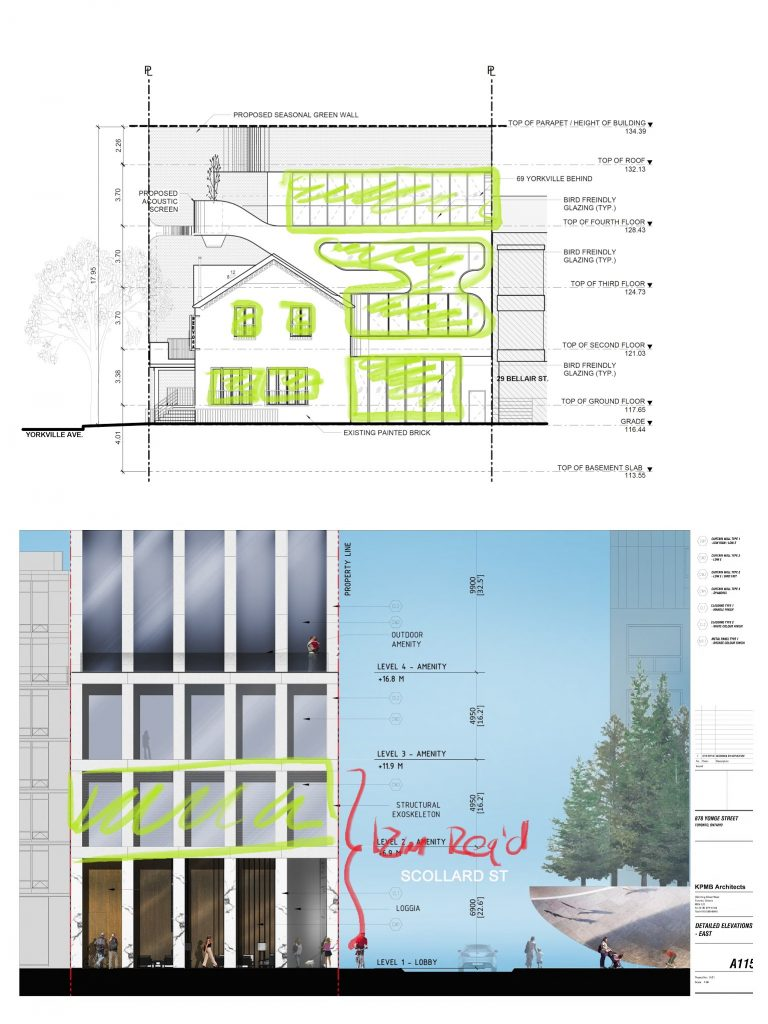 Collage of two architectural plans, showing where bird-friendly glass is to be installed on the buildings