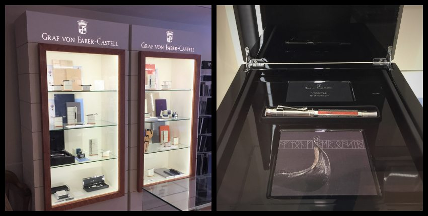 Left: Graf von Faber Castell display cases. Right: Pen of the year, 2017: Vikings