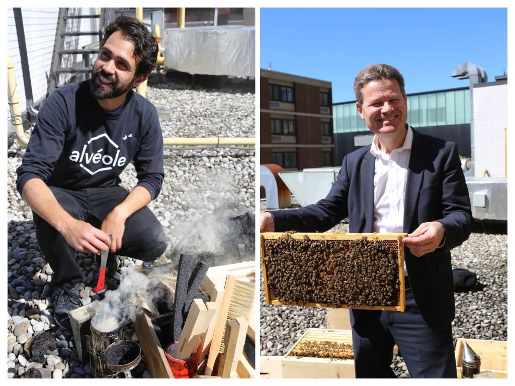 Image of Patrick and Scott Harris. Patrick is lighting up the bee smoker, and Scott is holding a frame from the hive