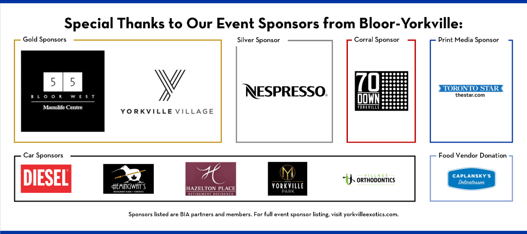 Special Thanks to Our Event Sponsors from Bloor-Yorkville: Gold Sponsors: Manulife Centre and Yorkville Village Mall, Silver Sponsors: Nespresso Boutique Bar, Print Media Sponsor: Toronto Star, Food Vendor Dontation by Caplansky's Delicatessen. For full event sponsor listing, visit yorkvilleexotics.com
